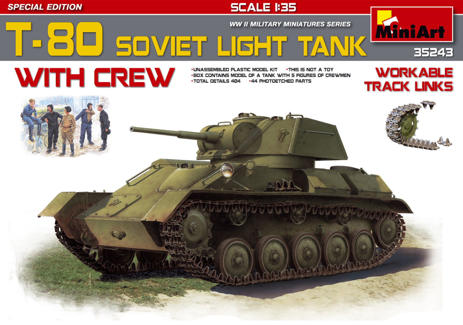 T-80 Soviet Light Tank w/Crew.Special Edition