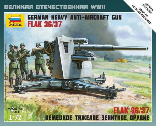 German Heavy Anti-Aircraft Gun Flak 36/37 with Crew  1/72
