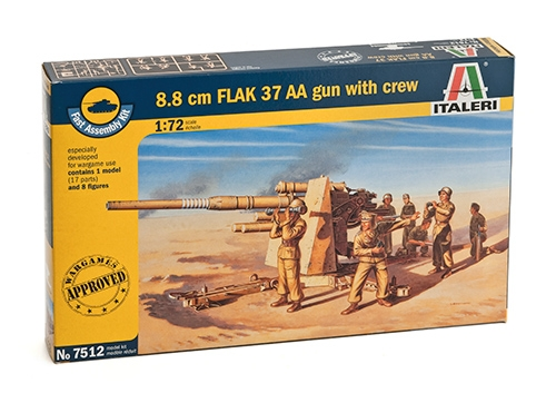 8.8 CM FLAK 37 AA GUN with crew  (2 FAST ASSEMBLY MODELS)